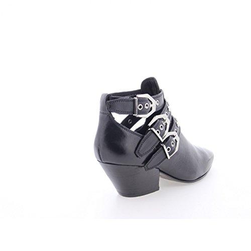 Bronx Ankle Boots Keaton 33990-A Leder Stiefelette Westernabsatz Schwarz
