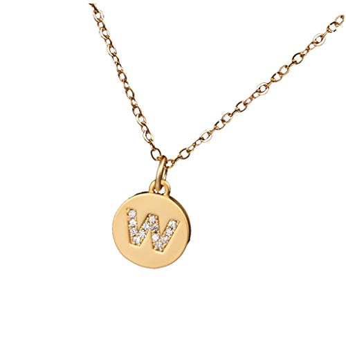 YunZyun Micro Zircon Inlaid Matte Circular Necklace 26 Letters Clavicle Neck Chain Letter Round Disc Pendant Adjustable Titanium Steel Peach Heart Love Alphabet (W)