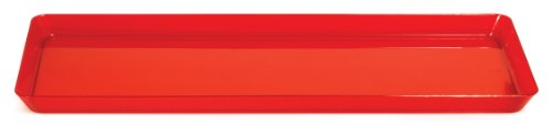 Creative Converting Rectangle Plastic Serving Tray, 15.5-Inch, Translucent Red (Tray Red)