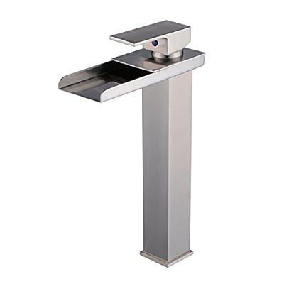 Ollypulse Brass Single-Hole Single Handle Waterfall Bathroom Lavatory Vessel Faucet, Brushed Nickel