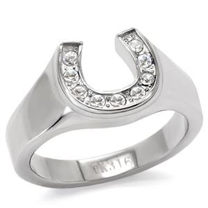 womens stainless steel clear crystal stone horseshoe ringsize5 - Horseshoe Wedding Rings