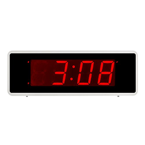 Kwanwa Portable Electric Alarm Clock With Large 1.4'' Red LED Numbers Display Battery Operated Only,Can Be Placed Anywhere Without A Cumbersome Cord (Pearl White)