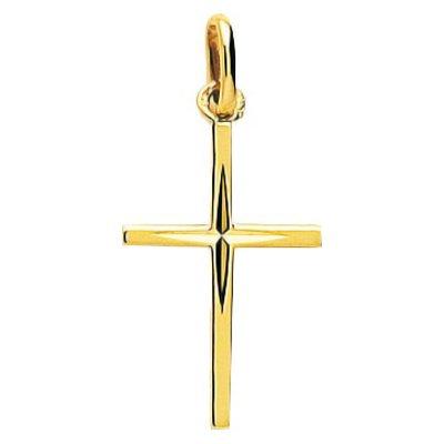 So Chic Bijoux © Pendentif Croix Christ Jésus Crucifix Centre Effet Diamanté Etoile Or Jaune 750/000 (18 carats)
