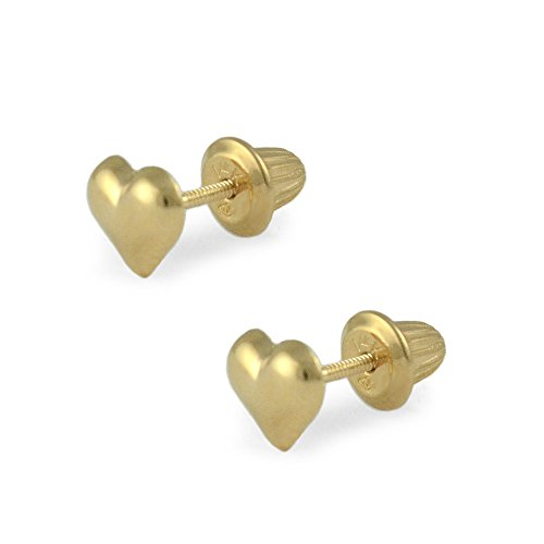 Girls Jewelry - 14K Yellow Gold Heart Shaped Screw Back Earring Studs by Loveivy