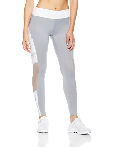 Mint Lilac Women's Mesh Workout Pants Athletic Yoga Leggings with Printed Pattern X-Large Gray