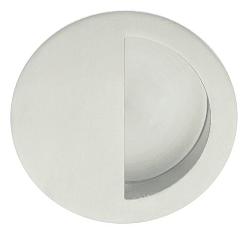 INOX FHIX02-32D Concealed Fixing Round Pocket/Cup Pull with Semi-Circular Opening, Satin Stainless Steel (Concealed Semi)