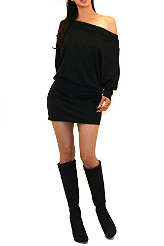 Vivicastle Women's One Shoulder Batwing Sleeve Ruched Bodycon Mini Jersey Knit Dress (Black, Small)
