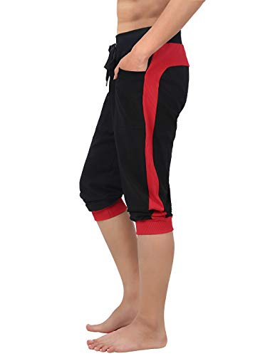 HDE Men's Cotton Casual Shorts 3/4 Workout Jogger Capri Pants Breathable Below Knee Short Pant with Two Pockets, Medium (Black w Red - Short Casual Mens Pants