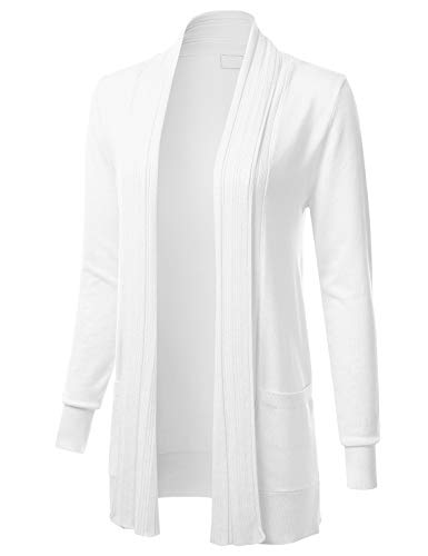 Women's Long Sleeve Open Front Drape Ribbed Cardigan with Pockets White L ()