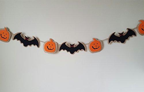 Halloween Bat & Pumpkin Burlap & Felt Garland Banner (Banner Halloween)