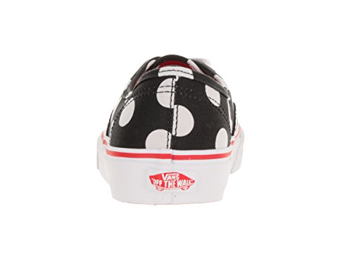 Vans Damen Authentic (Polka D) Low Top Leinwand Low Top Lace Up Fashion Sneakers Schwarz / Fiery R