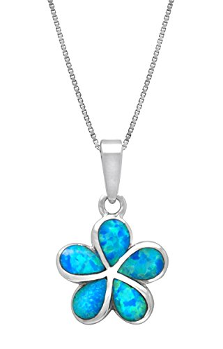 Sterling Silver Plumeria Flower Necklace Pendant with Simulated Blue Opal (19mm) ()