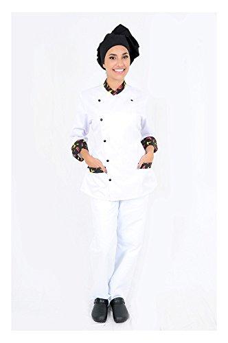DAM Uniforms Women´s 3/4 Sleeves White Details Pepper Chef Coat