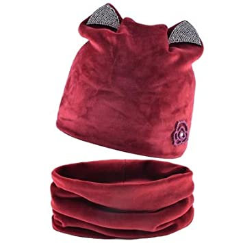 HOKUGA 2018 Cat Ear Skullies Beanies Hats Winter Knitted Hat Scarf Winter Hats For Women Caps