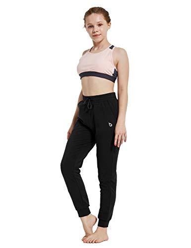 BALEAF Youth Girl's Sportswear Yoga Lounge Sweat Pants Active Soccer Jogger Black Youth-XS