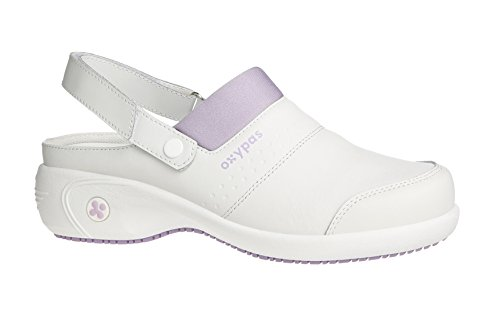 Oxypas Move Up Sandy Slip-resistant, Antistatic Nursing Clogs with Heel in White with Lilac Size EU 36 / UK 3