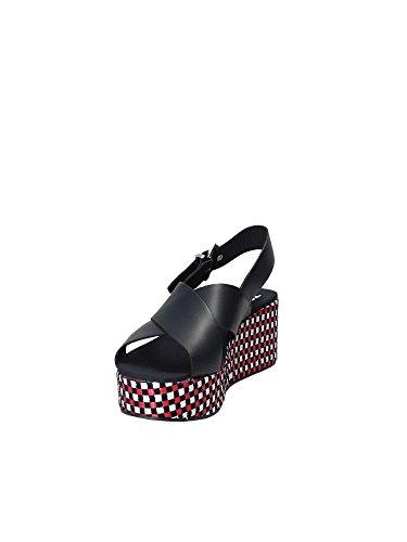 Tommy Dei Jeans En0en00210403 Signore Del Modello Flatform Percalle Sandalo Dal Blu In Pelle Liscia