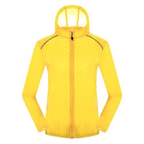 Pongfunsy Mens Windproof Outdoors Cycling Jackets with Hoodie Bike Reflective Rain Jacket Long Sleeve Bicycle Wind Coat Yellow