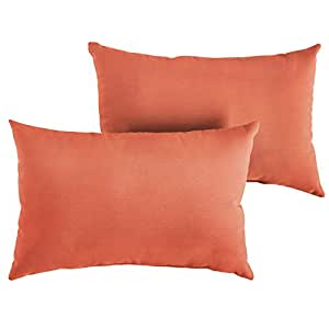 "1101Design Sunbrella Canvas Melon Decorative Indoor/Outdoor Lumbar Throw Pillows, Perfect for Patio Décor, (Melon Orange 12""x24"") - Set of 2"