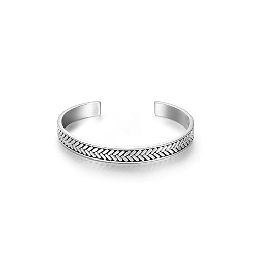 Carleen Fearlessness 925 Sterling Silver Unisex Open Cuff Bangle Bracelets Simple Minimalist Fine Jewelry for Men Women; Size Adjustable ()