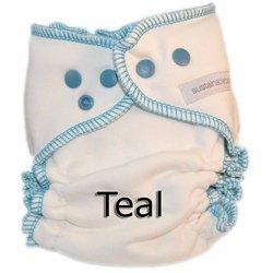Sustainablebabyish Organic Bamboo Fleece Fitted Cloth Diaper - Medium - Teal ()