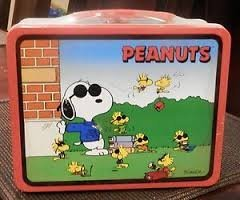 SNOOPY JOE COOL & WOODSTOCK PEANUTS TIN SCHOOL LUNCH BOX, UNITED FEATURE 1998