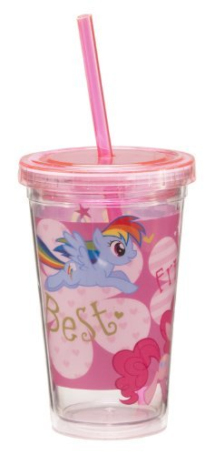 (Vandor 42014 My Little Pony 12 oz Acrylic Travel Cup with Lid and Straw,)