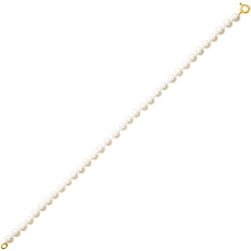 So Chic Bijoux © Bracelet Femme Longueur 18 cm Perles Eau Douce 5 mm Crème Ivoire Or Jaune 750/000 (18 carats)