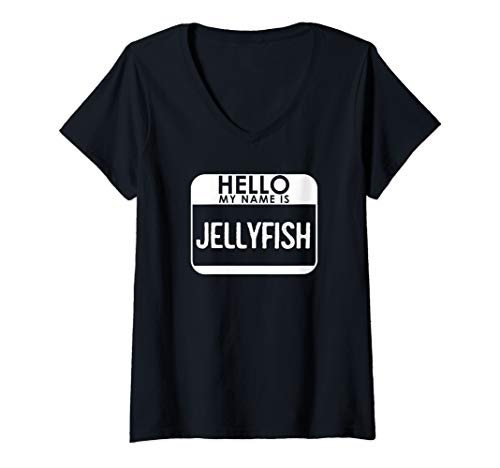 Womens Jellyfish Costume Shirt Funny Easy Halloween Hello My Name V-Neck T-Shirt]()