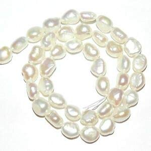Steven_store NP411 White 9mm - 10mm Baroque Rice Cultured Freshwater Pearl Beads 14
