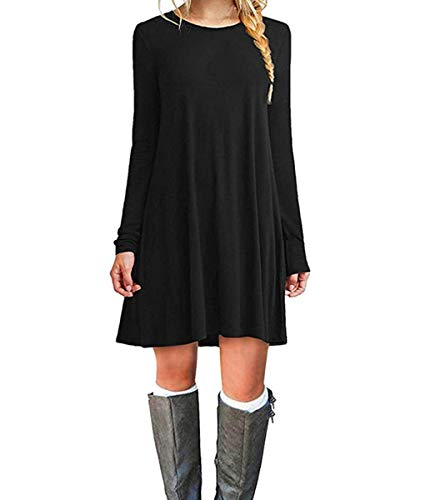 Cnokzol Women Long Sleeve Tunic Dress with Pockets Casual Loose Flowy Pleated T-Shirt Dress(XXL,Black)