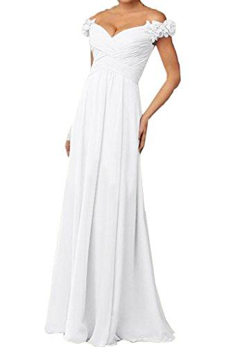 ivyd ressing Mujer a partir de la hombro con flores gasa vestido de fiesta Prom vestido fijo para vestido de noche Weiß