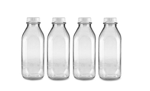 The Dairy Shoppe Heavy Glass Milk Bottles 33.8 Oz Jugs with Extra Lids (4, 33.8 oz)