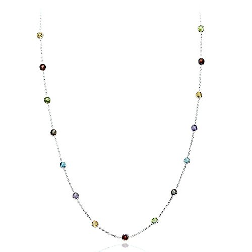 14K White Gold Handmade Station Necklace With 4 MM Gemstones (24, 28, 30, and 32 Inches)