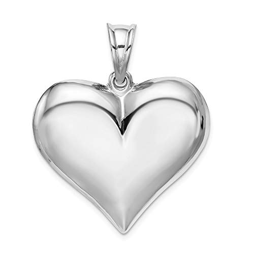 Jewel Tie Sterling Silver Rhodium-Plated Polished Puffed Heart Pendant - (1.18 in x 1.26 in)