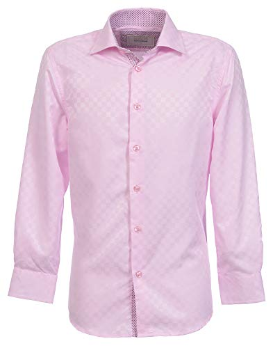 Suslo Couture Boys Button Front Long Sleeve Shirt (Pink, 12)