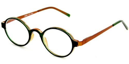 Cambridge Fashion Readers with Round, Retro Design and Spring Hinge Temples for Youthful, Stylish Men and Women (Green & Bronze - Cheap John Lennon Glasses