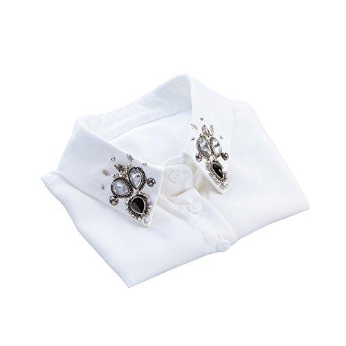 Shinywear Vintage British Clear Crystal False Shirt Collar Decorative Detachable Lapel Collar (White) (Crystal Clear Vintage)