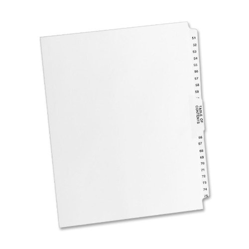 Avery Style Legal Exhibit Side Tab Dividers, 26 tabs, 51-75, Letter Size, White, Unpunched, one set of 26 dividers (11396) ()