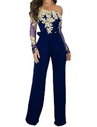 Women Casual Lace Up Jumpsuit Ladies Off Shoulder Solid Floral lace  Playsuit Wide Leg Romper 31385d84b