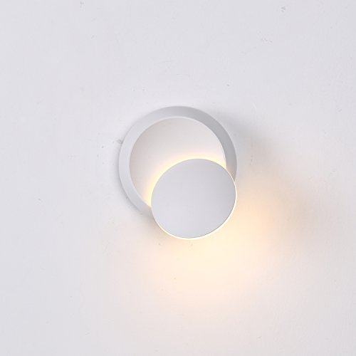 Topmo-Plus LED Wall Lamp/360 Degree Rotatable Lamp Sconce/Round Plug in Wall Spot for Stairs Living Room Bedroom Balcony Hotel Stair Floor office/5W Warm White 3000K 550LM White 14 x 7 cm