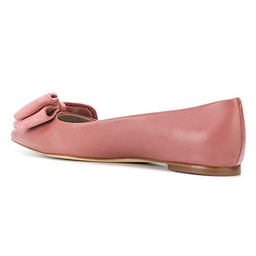 on YDN Slip Low Bow Walking Pink Shoes Casual Pumps Pointed Women Heel Toe Flats R6FrR0