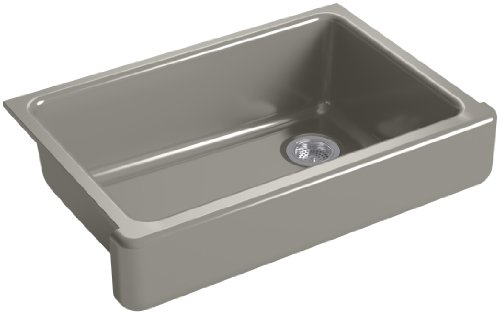 2in Depth Single Bowl Sink - KOHLER K-5826-K4 Whitehaven Self-Trimming Under-Mount Single-Bowl Sink with Short Apron, Cashmere