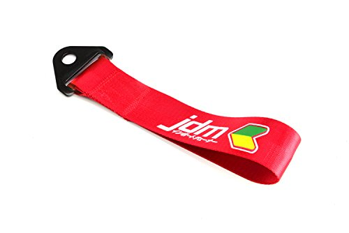 JDM Beginner Universal Front /& Rear Tow Strap//Tow Hook Ribbon RED