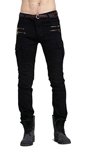 X-Future-Men-Basic-Gothic-Pleated-Zip-up-Biker-Moto-Stretchy-Jeans-Long-Pants-Black-XL