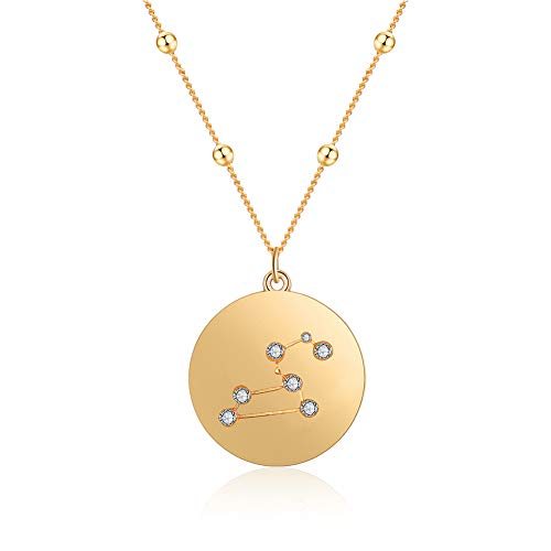 (FAMARINE 18K Gold Plated Zodiac Necklace, Constellation Pendant Necklace for Girls Women Birthday Gift with Gift Box (Leo))