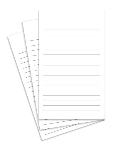 (Thick White Note Cards for notes or thoughts, Printed black ruled lines Both sides - Vertical Ruled Cards