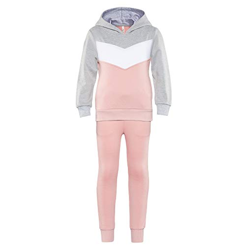 Girls Athletic Hooded Top and Pants Set Teen Girl Jogging Suit Big Girls Active Tracksuit Hoodie Grey&Pink Size 16Y