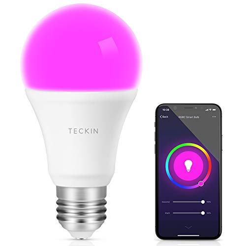 Smart Light Bulb with Soft White Light 2800k-6200k + RGBW, TECKIN A19 E27 WiFi Multicolor LED Bulb Compatible with Phone, Google Home and IFTTT (No Hub Required), 8w (60w Equivalent),1 Pack