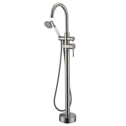 Freestanding Bathtub Faucet Tub Filler Brushed Nickel High Flow Rate 11.9GAL Floor Mounted Faucets with Hand Shower Mount -